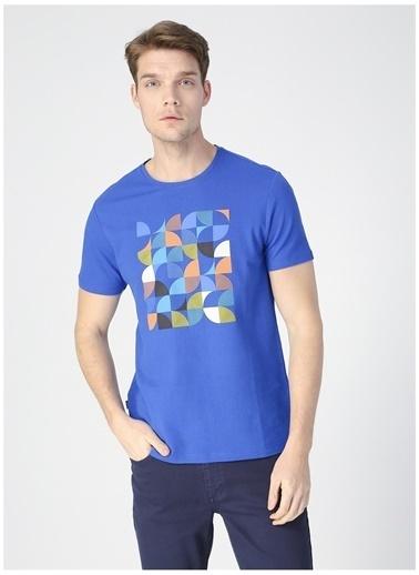Pierre Cardin Pierre Cardin Erkek Mavi Bisiklet Yaka T-Shirt Mavi
